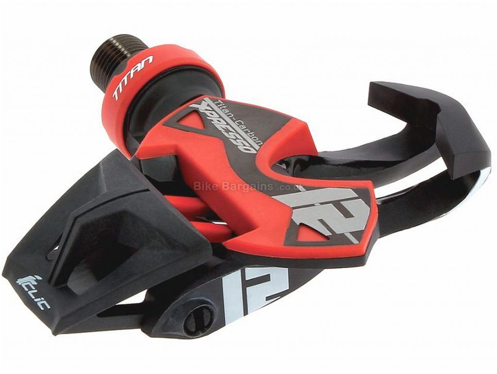 Time Xpresso 12 Pedals Clipless, Road, 155g, Carbon, Alloy, Steel, Black, Red, 9/16""