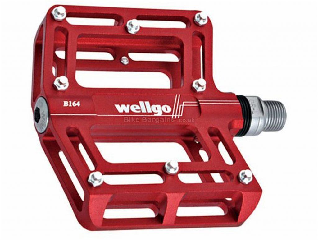 "Wellgo B164 CNC Flat Pedals Flat, MTB, 372g, Alloy, Steel, Red, Silver, 9/16"""