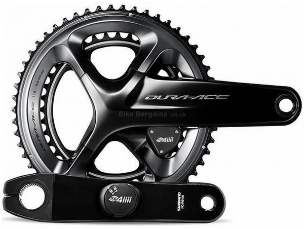 4iiii Precision Shimano Dura-Ace 9100 Chainset Power Meter 165mm, 170mm, 172.5mm, 175mm, Double, Chainset, Alloy, Black, 25g extra