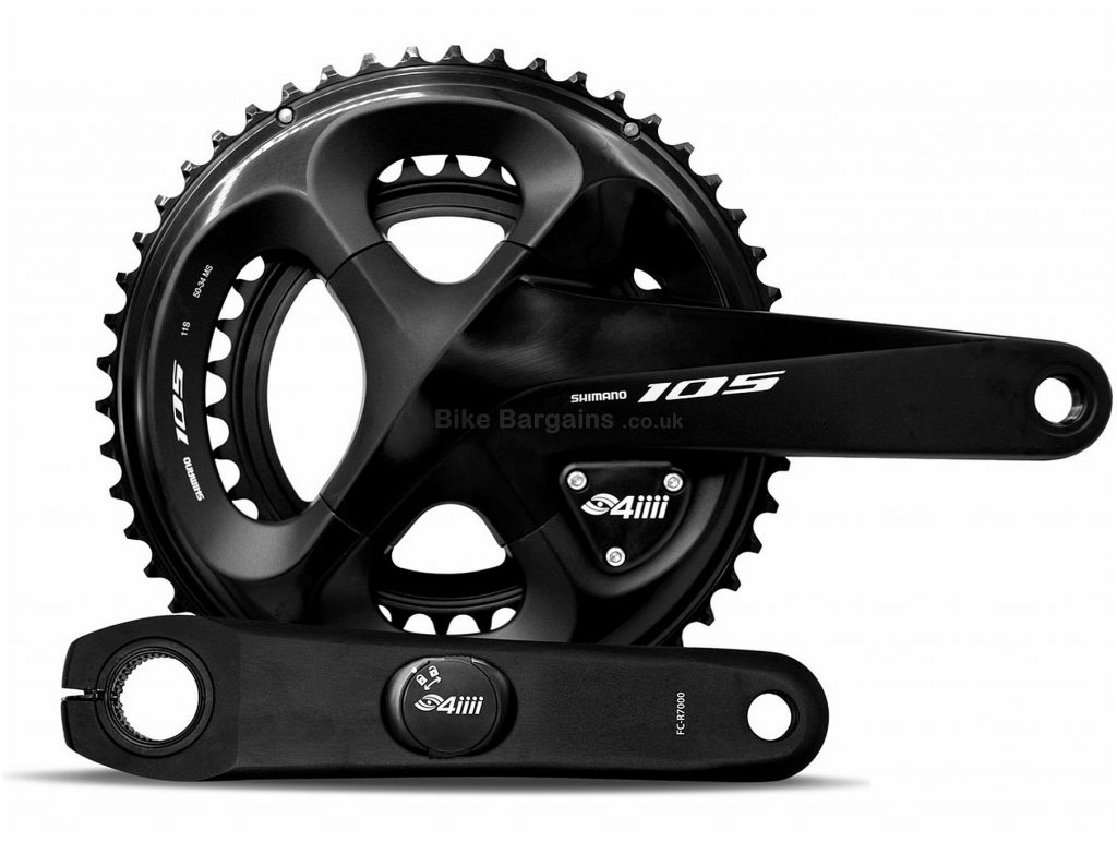 4iiii Precision Shimano 105 R7000 Chainset Power Meter 165mm, 170mm, 172.5mm, 175mm, Double, Chainset, Alloy, Black, 25g extra