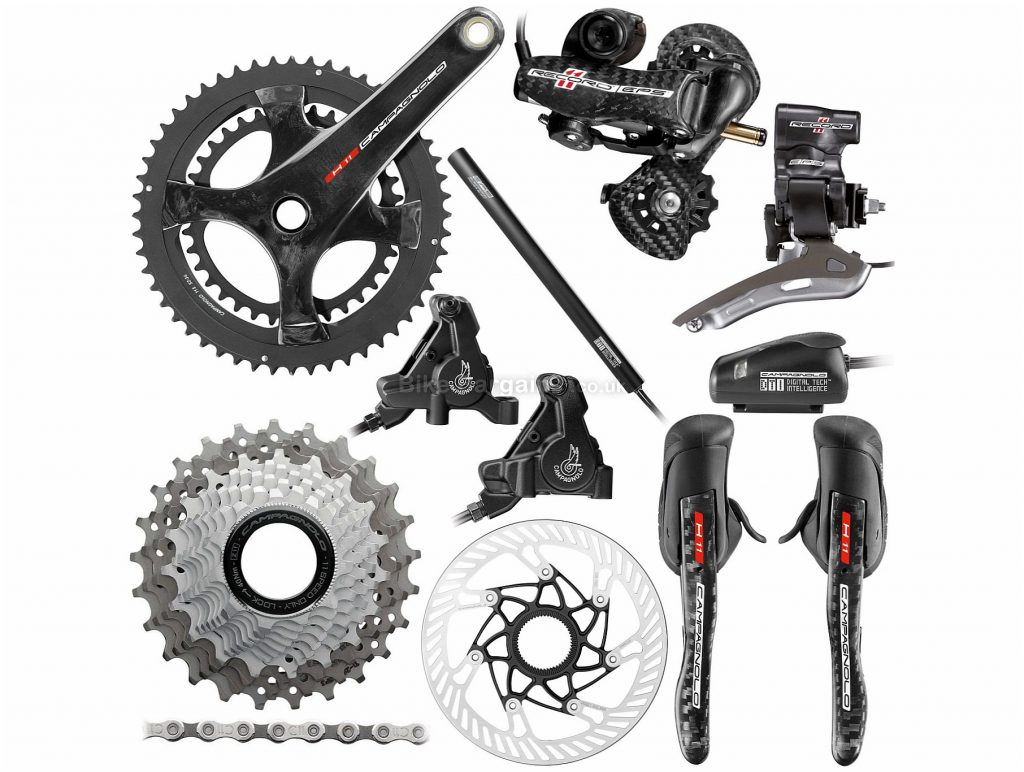 Campagnolo Record EPS 11 Speed Hydraulic Disc Groupset 175mm, Double, 11 Speed, Carbon, Alloy, Black, Silver