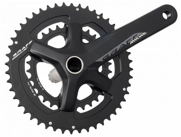 Miche Graff 11 Speed Double Chainset 165mm, 170mm, 172.5mm, 175mm, Double, 11 Speed, Alloy, 789g, Black