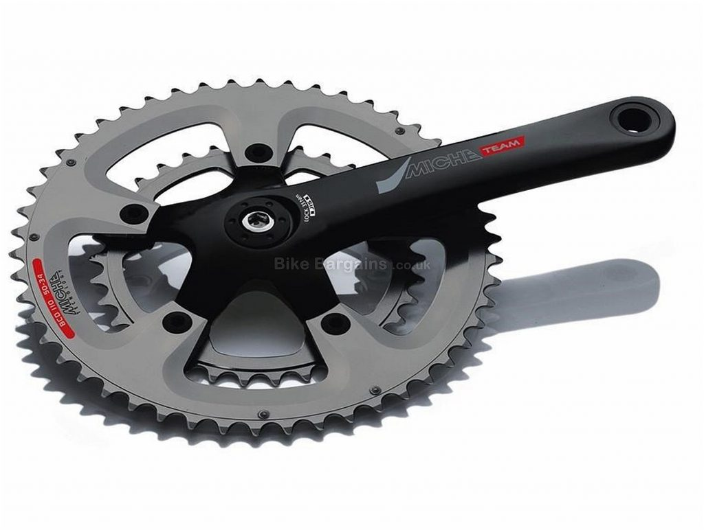 Miche Team CPT 9 10 Speed Chainset 170mm, 172.5mm, Double, 10 Speed, Alloy, 705g, Black, Silver