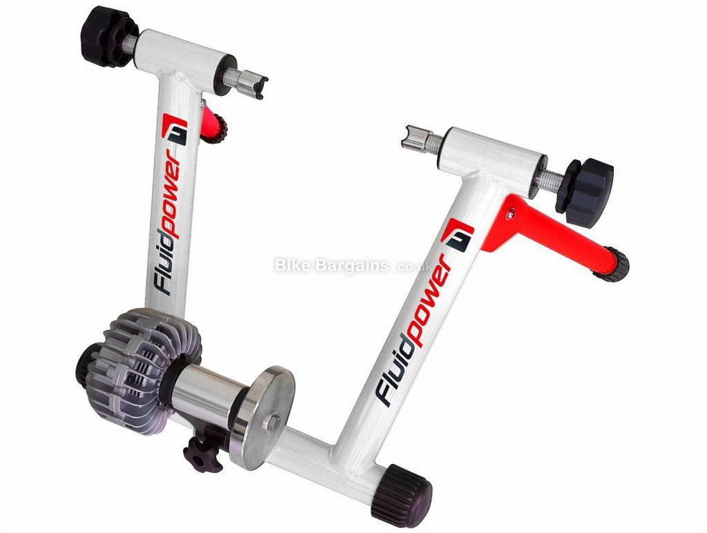 Riva Sport Fluid Power Turbo Trainer Includes riser block & QR, White, Red