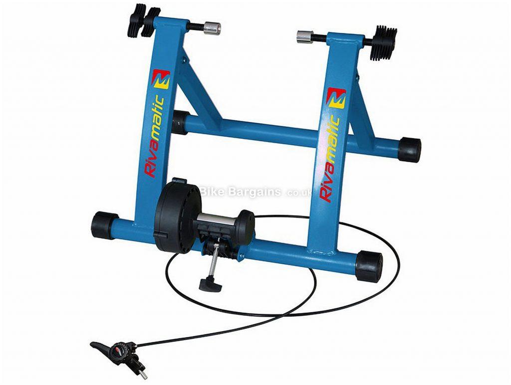 Riva Sport Matic Magnetic Turbo Trainer 7 levels, inc riser block & QR, Blue, Black