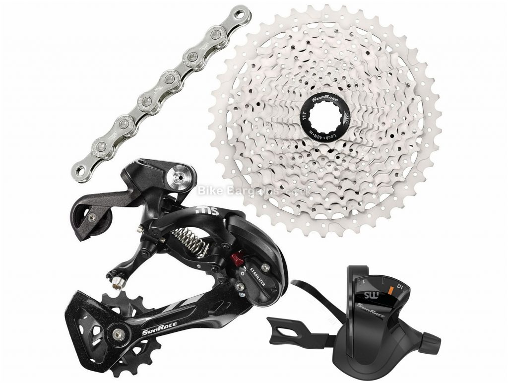 SunRace 10 Speed Drivetrain Groupset One Size, 10 Speed, Alloy, Black, Silver