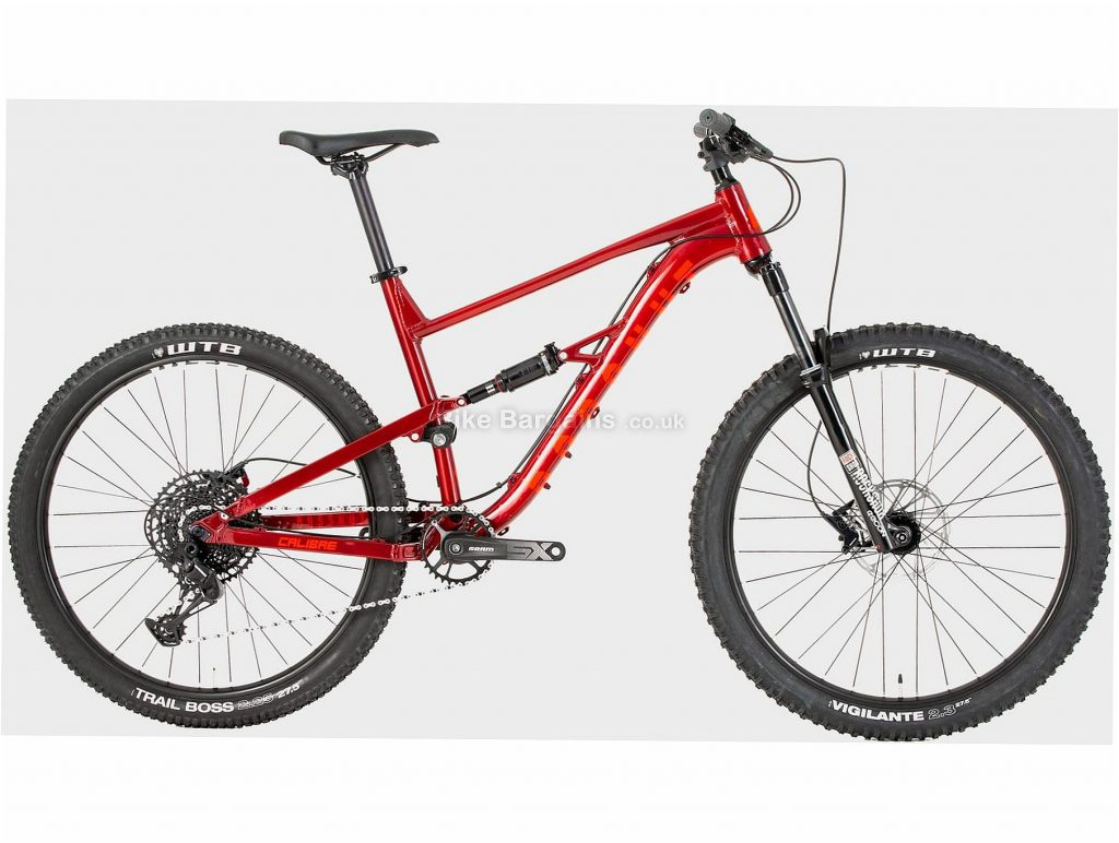 """Calibre Bossnut Alloy Full Suspension Mountain Bike S, Red, 27.5"""", Full Suspension, 12 Speed, Disc, Single Chainring, 15.2kg"""