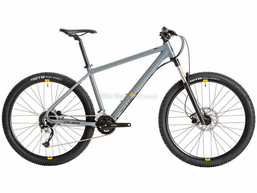 "Calibre Two Cubed Alloy Hardtail Mountain Bike M, Grey, Alloy, 27.5"", Disc, Hardtail, 9 Speed"