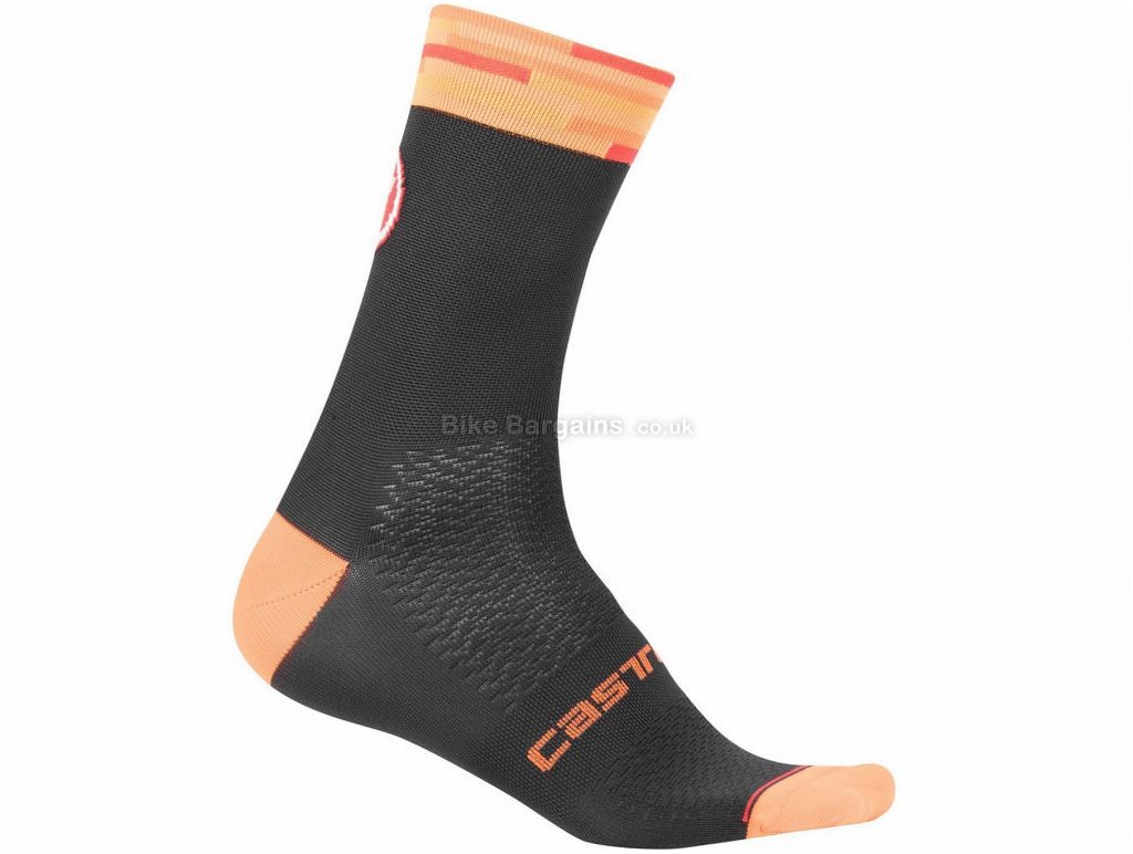 Castelli A Bloc 13 Socks S,M, Black, Orange, Grey, Blue, Red