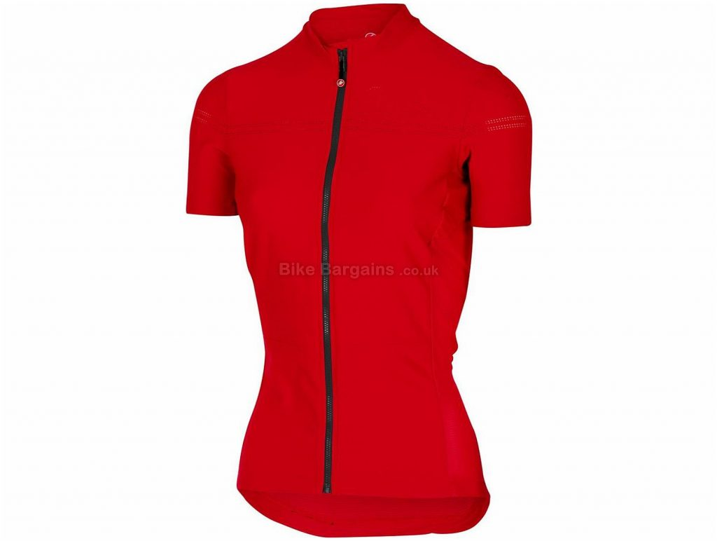 Castelli Promessa 2 FZ Ladies Short Sleeve Jersey 2019 XL, Red, Blue