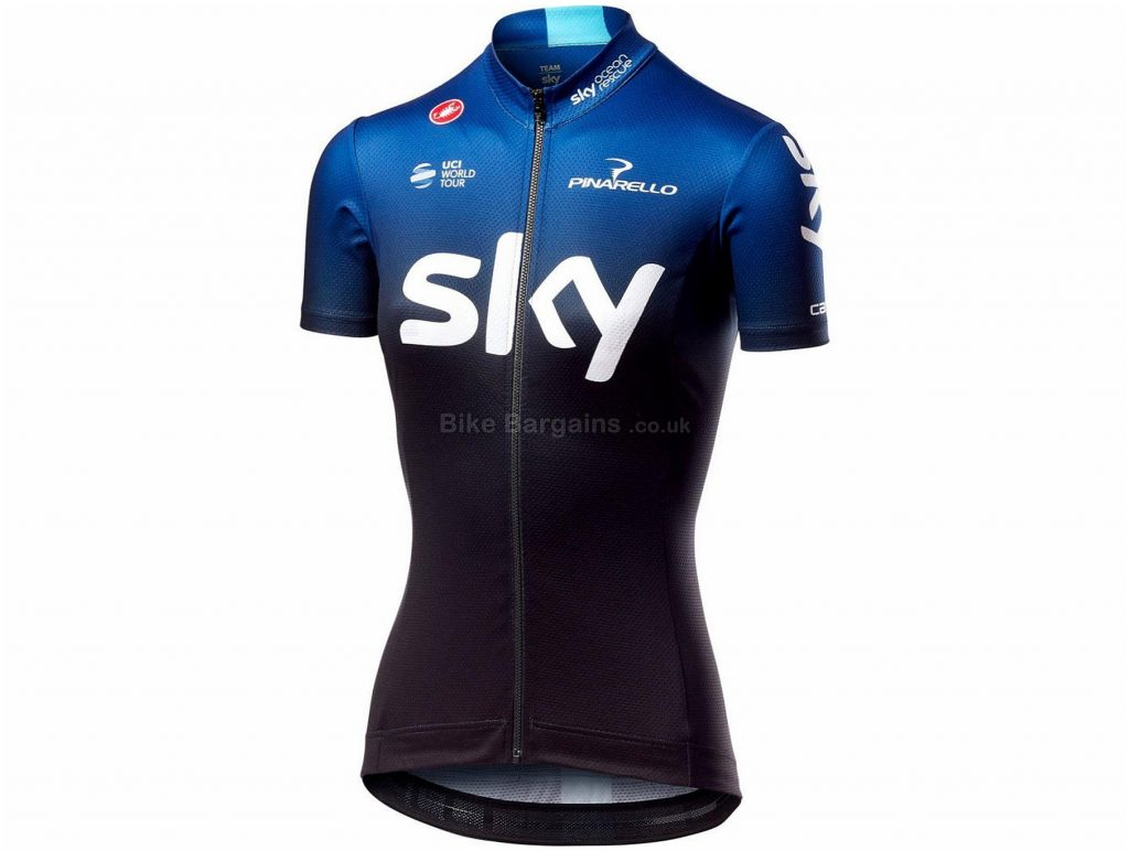 Castelli Team Sky Fan 19 Ladies Short Sleeve Jersey 2019 M,L, Blue, Black