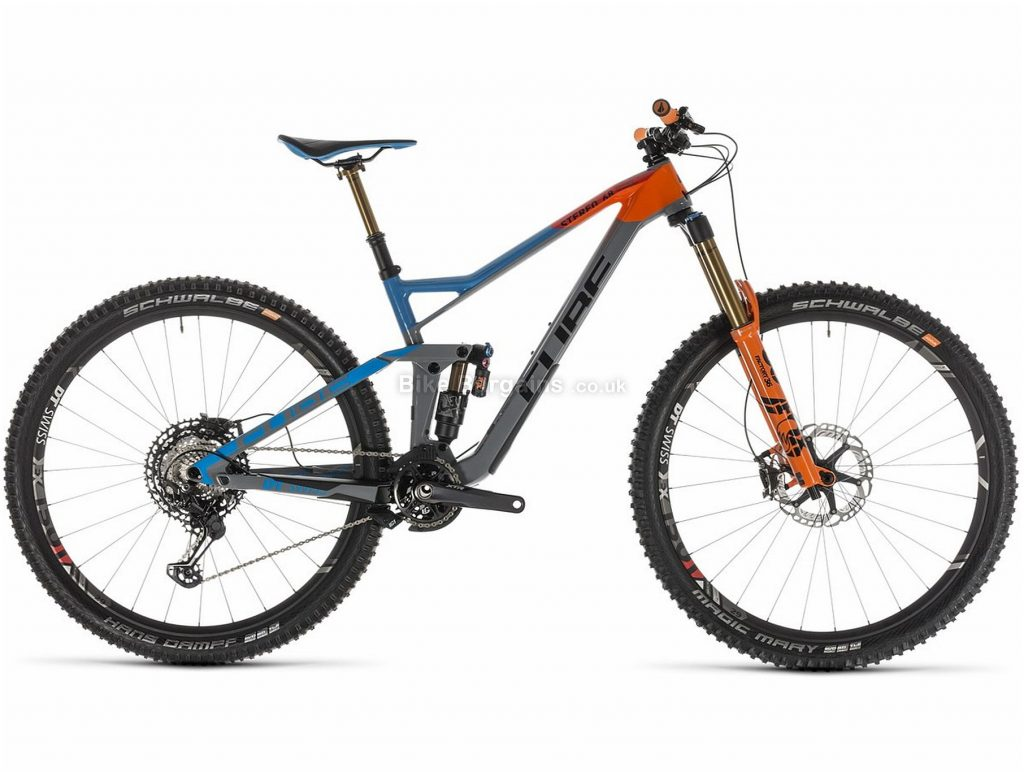 "Cube Stereo 150 C:68 Action Team 29er Carbon Full Suspension Mountain Bike 2019 20"", Grey, Orange, Blue, 29"", Full Suspension, 12 Speed, Disc, Single Chainring"