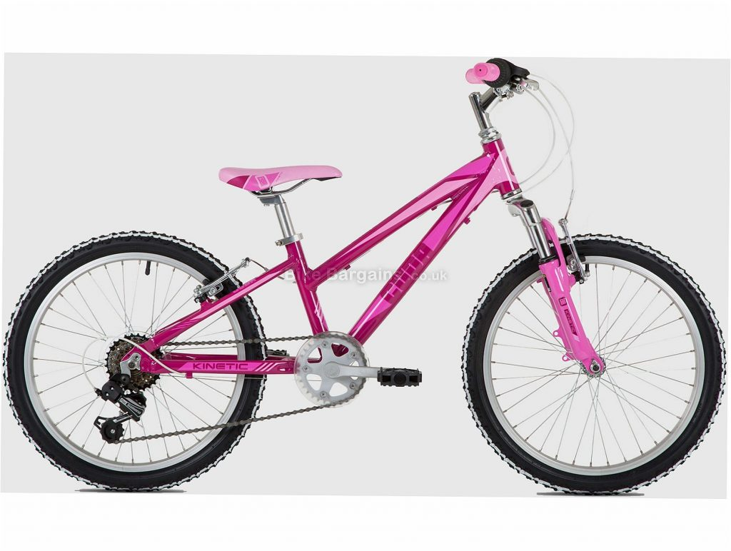 "Cuda Kinetic 20"" Alloy Kids Mountain Bike One Size, Pink, Alloy, 20"", Caliper Brakes, Hardtail, 6 Speed, 11.9kg"