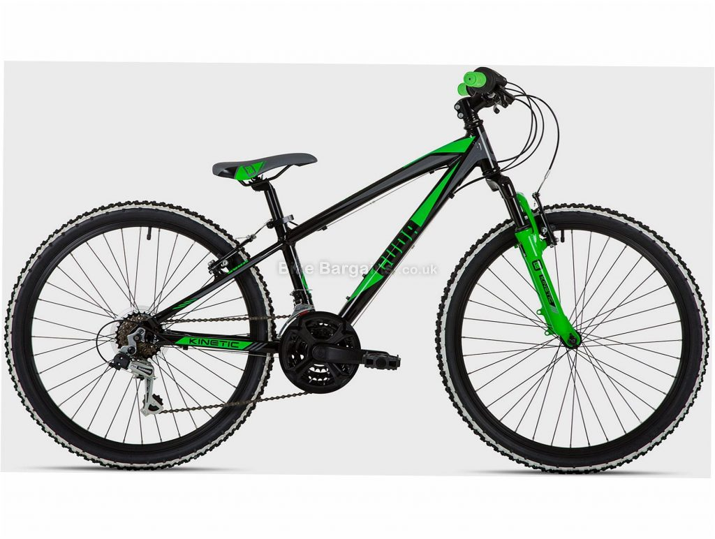 "Cuda Kinetic 24"" Alloy Kids Mountain Bike One Size, Black, Green, Alloy, 24"", Caliper Brakes, Hardtail, 6 Speed, 13.3kg"