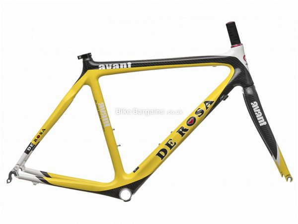 De Rosa Avant Calipers Carbon Road Frame 58cm, Yellow, Red, White, Carbon, 700c, Caliper Brakes