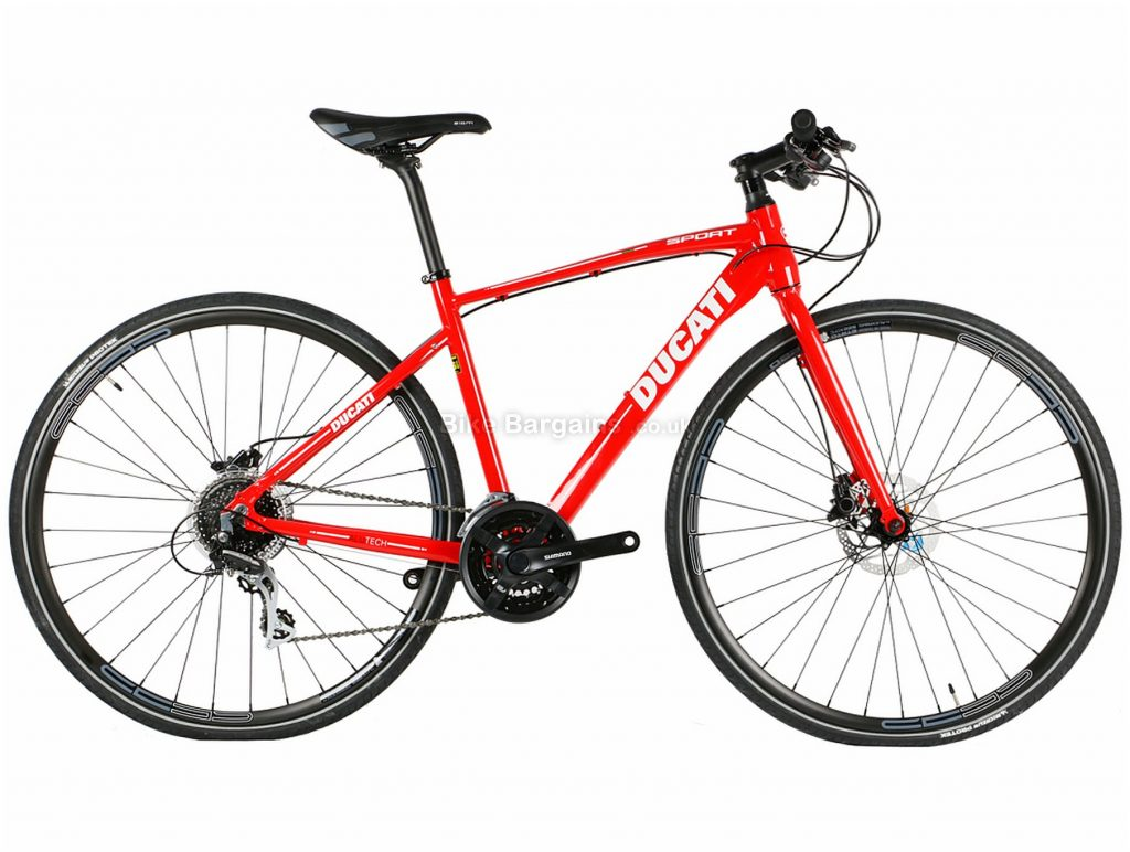 Ducati Sport Disc Town City Hybrid Bike 46cm, Red, Alloy, 24 Speed, Disc, 700c