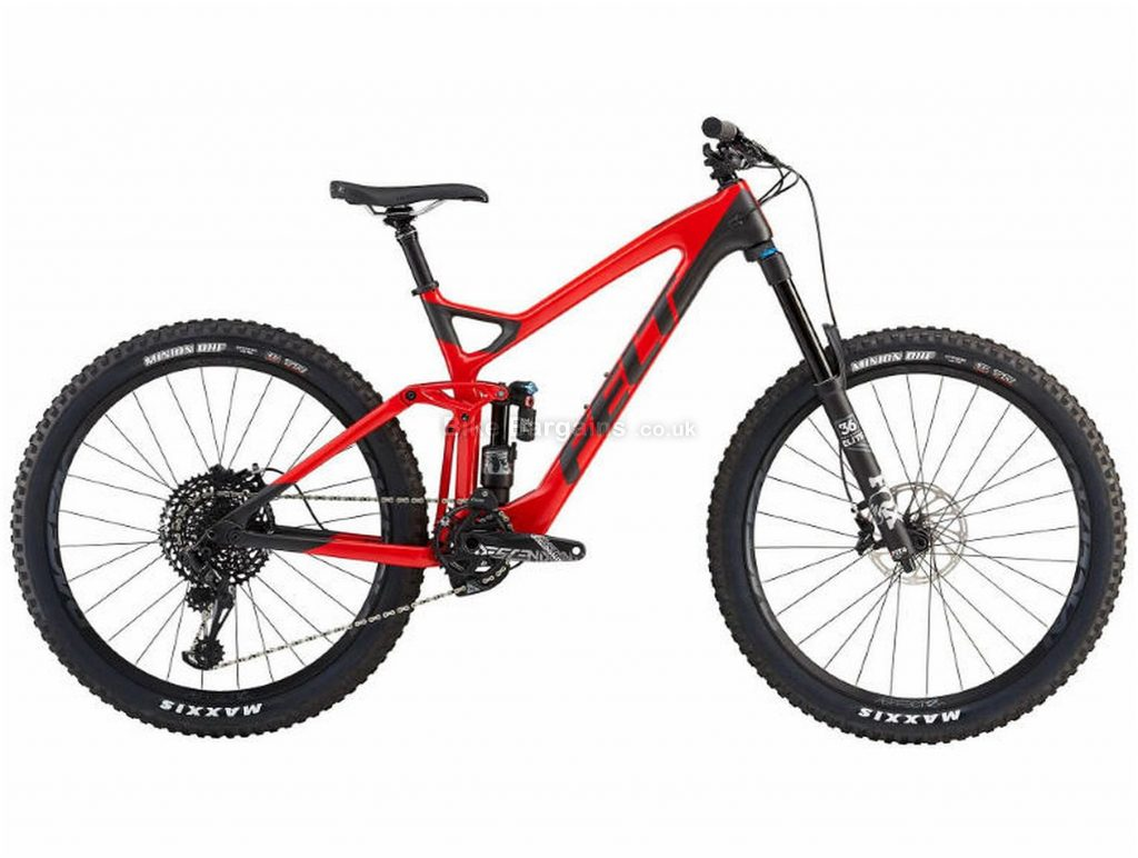 "Felt Compulsion 1 Carbon Full Suspension Mountain Bike 2019 16"", Red, Black, Carbon, 27.5"", 12 Speed, Single Chainring, Disc, Full Suspension"