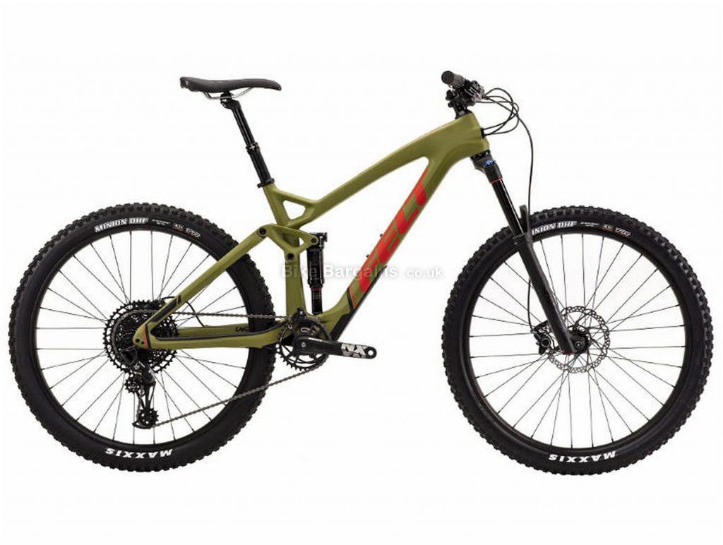 "Felt Decree 5 Carbon Full Suspension Mountain Bike 2019 20"", Green, Black, 27.5"", Full Suspension, 12 Speed, Disc, Single Chainring"