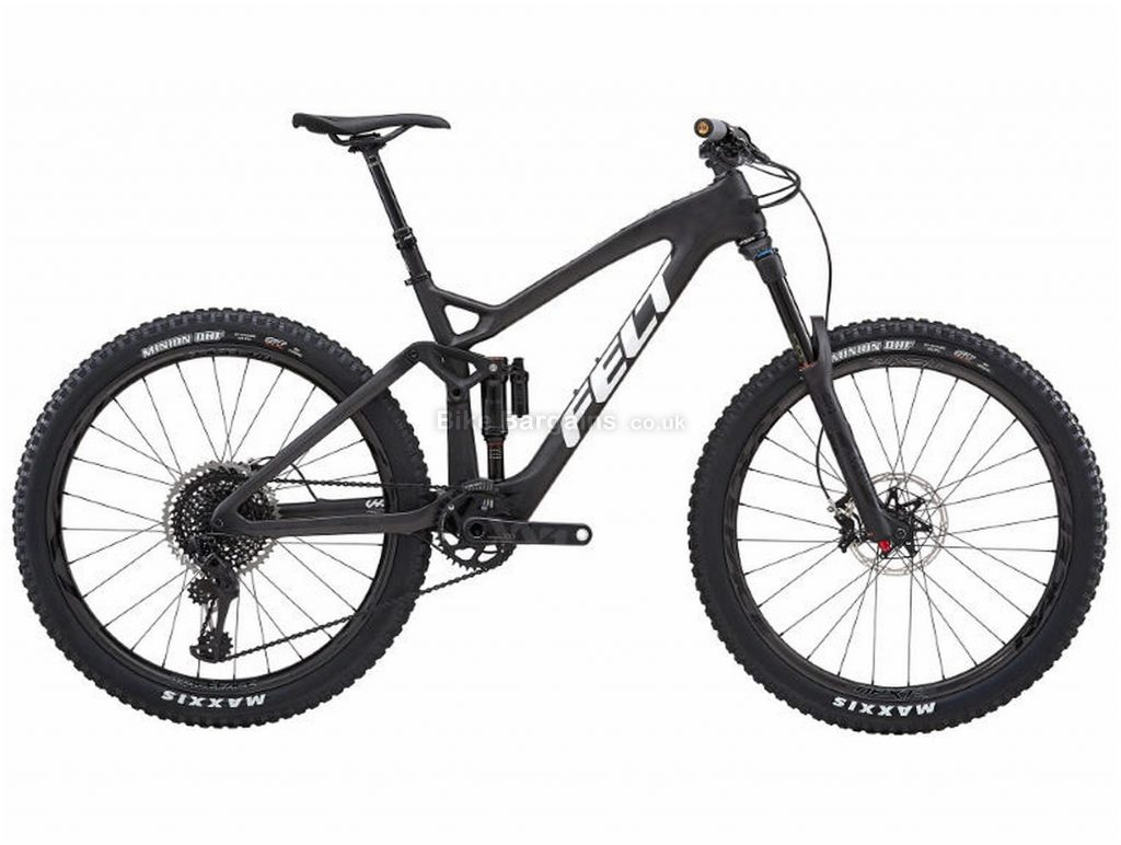 "Felt Decree FRD Carbon Full Suspension Mountain Bike 2019 20"", Black, Carbon, 27.5"", 12 Speed, Single Chainring, Disc, Full Suspension"