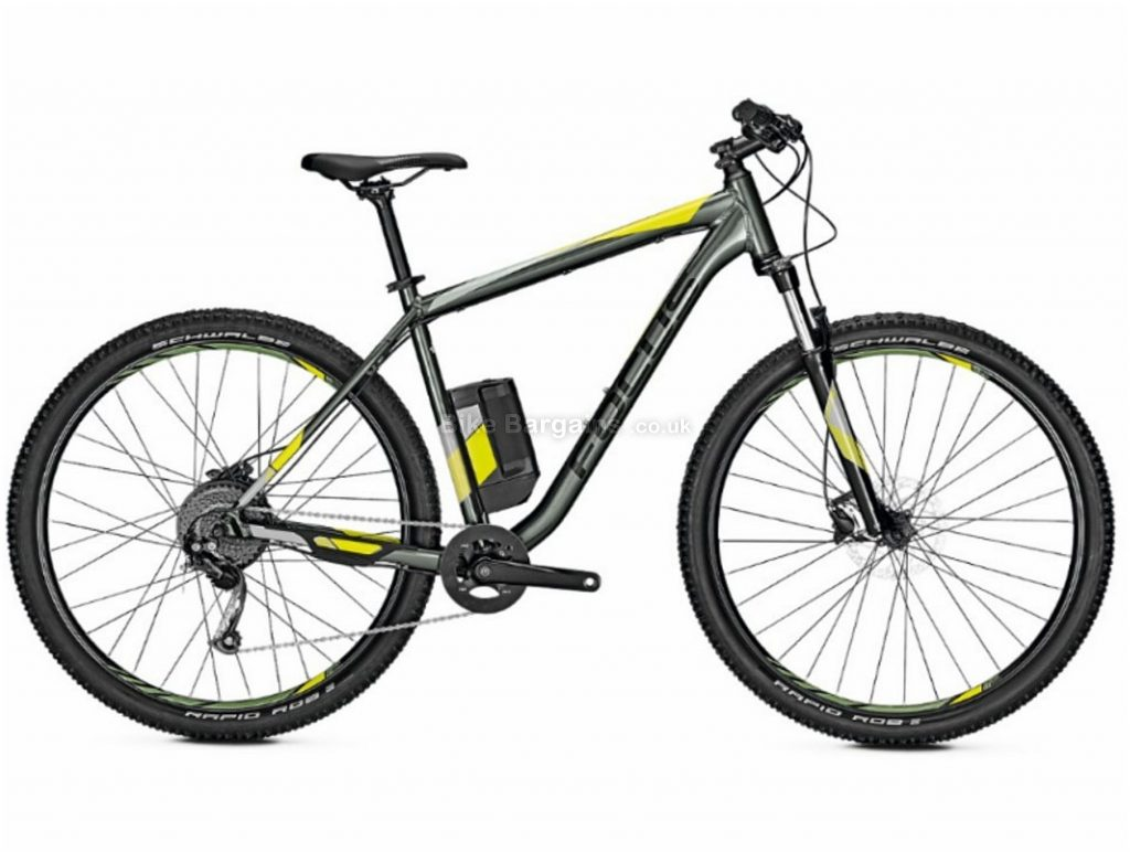 "Focus Whistler2 3.9 Hardtail Alloy Electric Bike 2019 S, Grey, Yellow, 27.5"", Alloy, 9 Speed, Single Chainring, Disc"