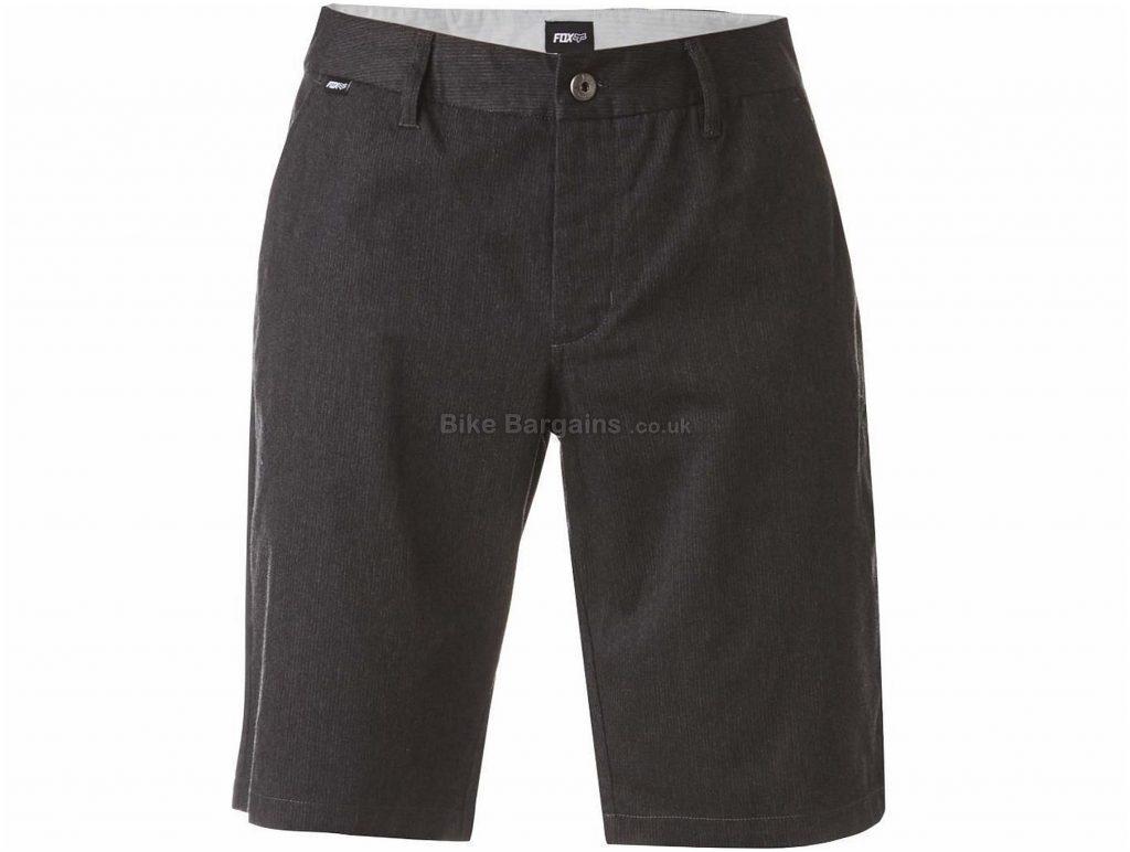 "Fox Clothing Essex Pinstripe Shorts 28"", Grey, Black"