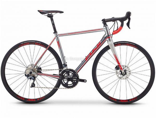 Fuji Roubaix 1.3 Disc Alloy Road Bike 2019 49cm, Silver, Red, Alloy, 700c, 11 Speed, Double Chainring, Disc