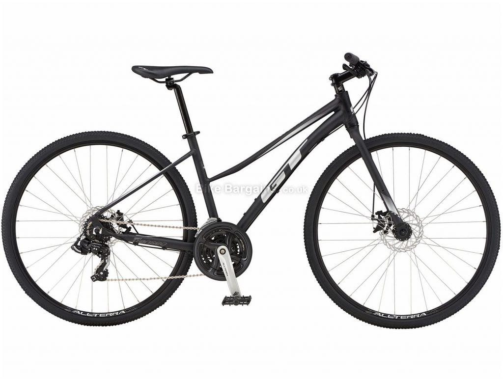 GT Transeo Sport Easy Entry Ladies City Hybrid Bike 2019 L, Black, Alloy, 21 Speed, Disc, 700c