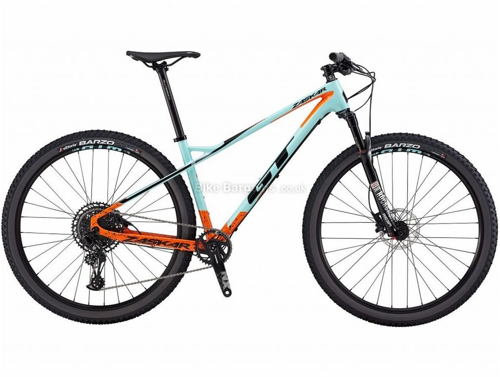 "GT Zaskar Elite Carbon Hardtail Mountain Bike 2019 S, Turquoise, Orange, Black, 29"", Hardtail, 12 Speed, Disc, Single Chainring"
