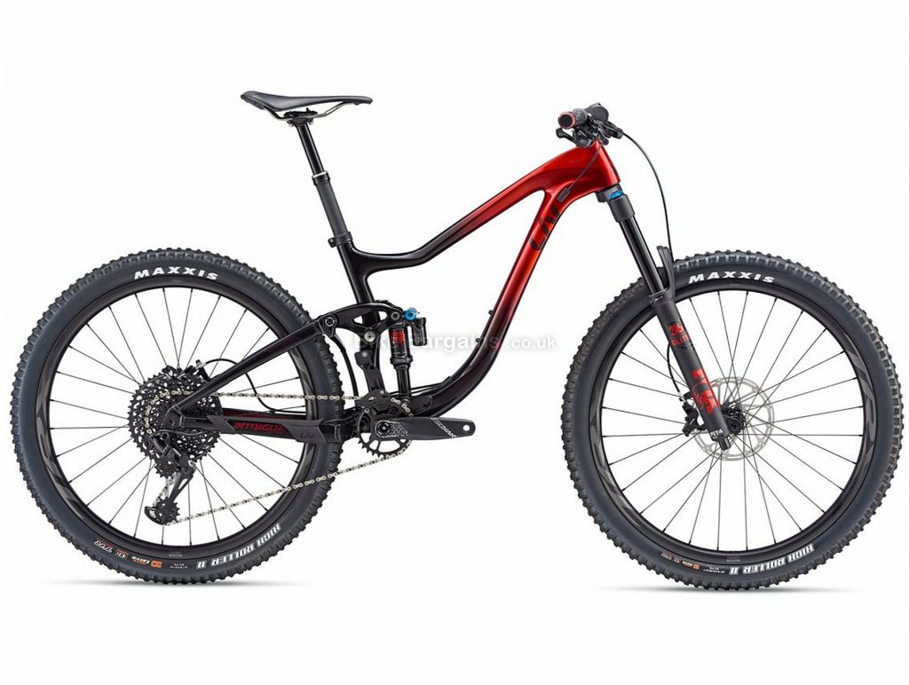 "Giant Liv Intrigue Advanced 1 Ladies Full Suspension Mountain Bike 2019 S, Red, Black, 27.5"", Alloy, Carbon, 12 speed, Disc, Single Chainring, Full Suspension"