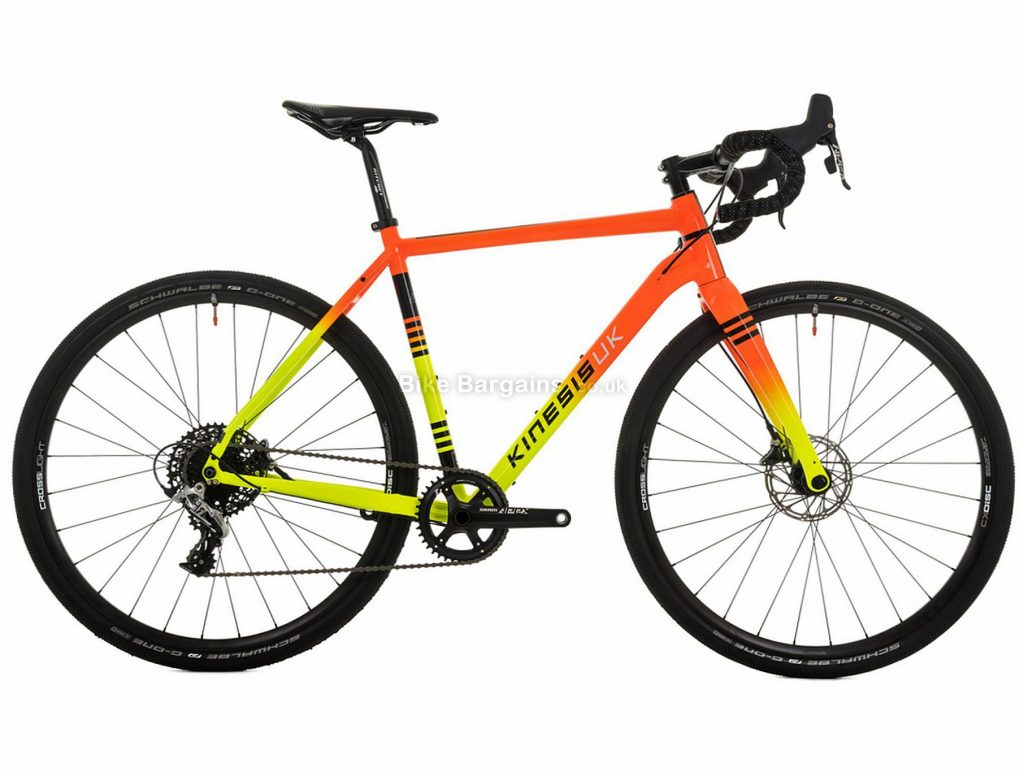 Kinesis Tripster AT Alloy Gravel Bike 2019 55cm, Orange, Yellow, Alloy, 700c, 11 Speed, Single Chainring, Disc