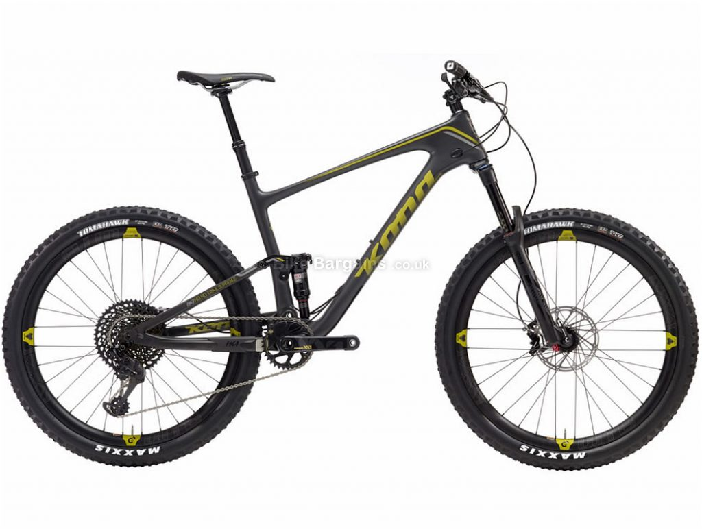"Kona Hei Hei Trail Supreme Carbon Full Suspension Mountain Bike 2019 XS,S,L, Black, Grey, Carbon, 27.5"", 12 Speed, Single Chainring, Disc, Full Suspension"