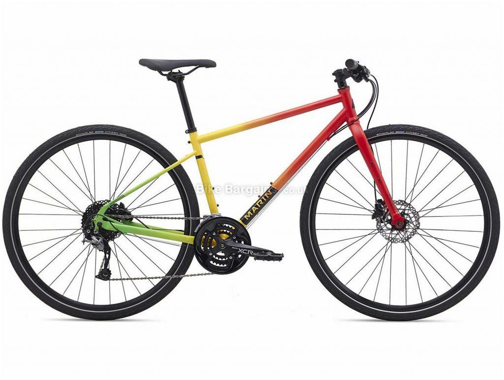 Marin Muirwoods Rasta City Hybrid Bike 2020 XS,S,L, Red, Yellow, Green, Steel, 27 Speed, Disc, 700c