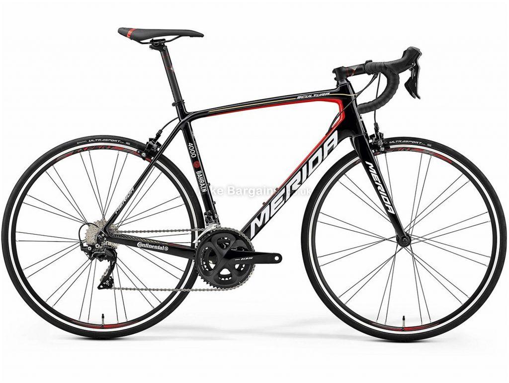 Merida Scultura 4000 Carbon Road Bike 2019 50cm, Black, Red, Carbon, 11 Speed, Caliper Brakes, Double Chainring