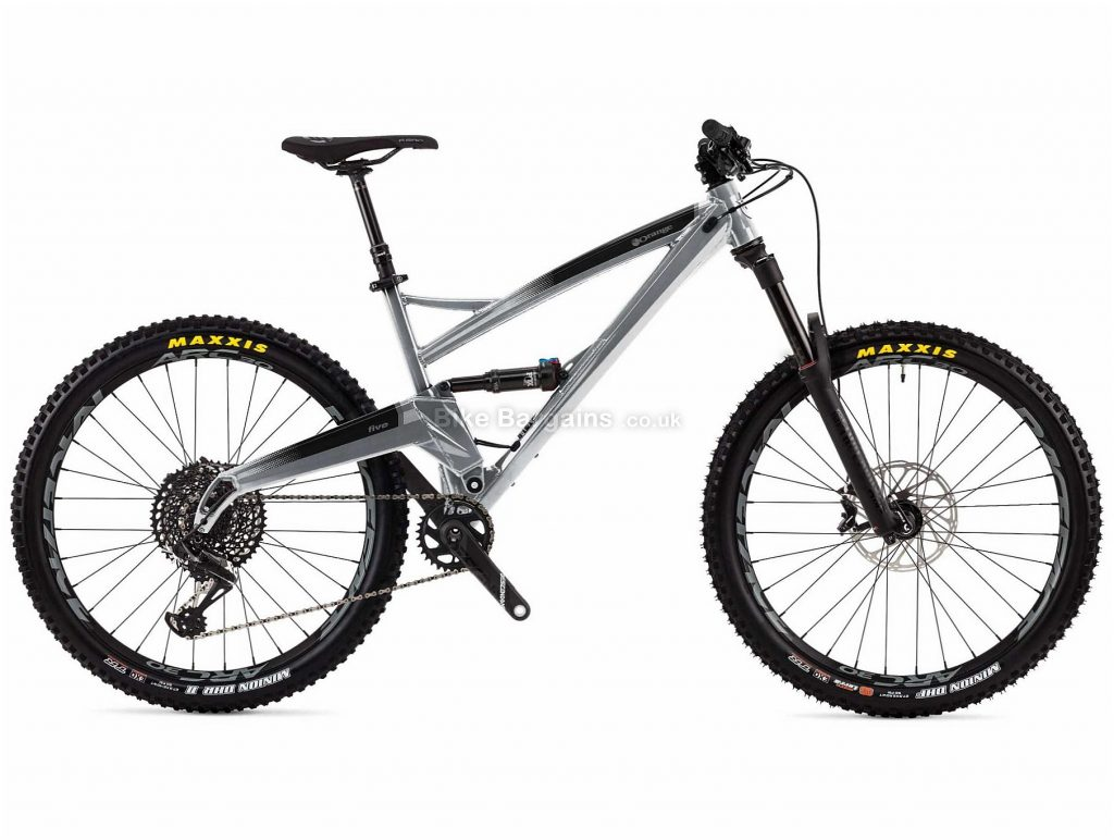 "Orange Five RS Alloy Full Suspension Mountain Bike 2019 M,L, Silver, 27.5"", Full Suspension, 12 Speed, Disc, Single Chainring"