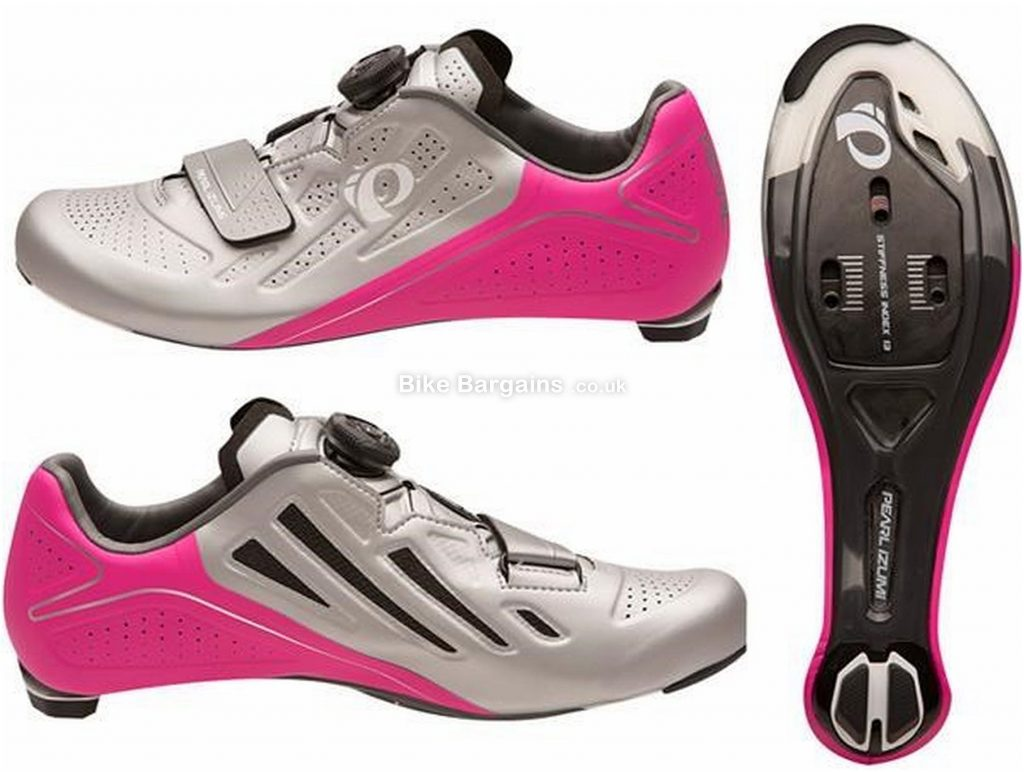 Pearl Izumi Elite V5 Ladies Road Shoes 2017 38, Silver, Pink, 240g, Ladies, Road, Carbon, Boa, Velcro