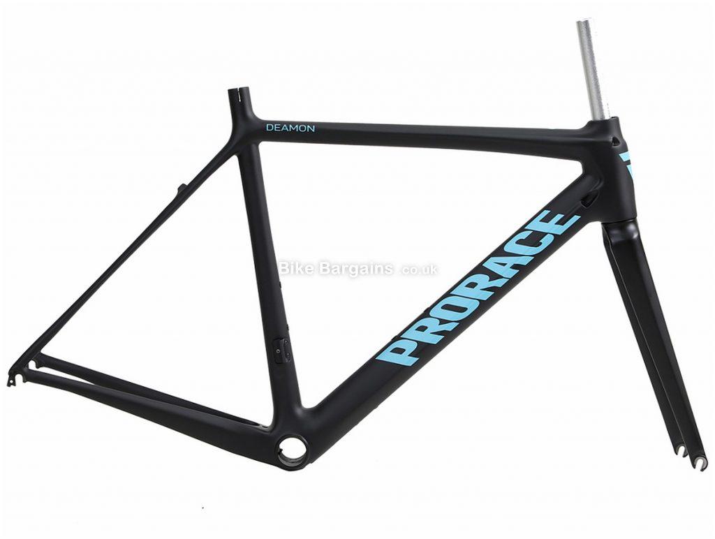 Prorace Deamon Calipers Carbon Road Frame M, Black, Turquoise, Carbon, 700c, Caliper Brakes