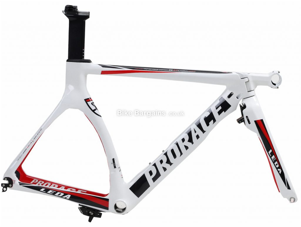 Prorace Leda TT Calipers Carbon Road Frame M, Red, White, Grey, Black, Carbon, 700c, Caliper Brakes