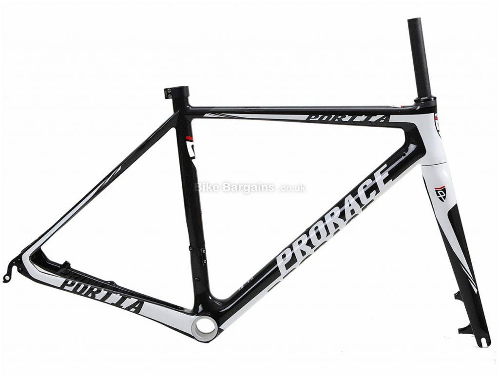 Prorace Portia Di2 Disc Carbon Road Frame XS, Black, White, Carbon, 700c, Disc