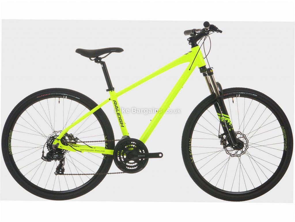 "Raleigh Strada Trail Sport 1 Urban Alloy City Bike 20"", Yellow, 27.5"", Alloy, 7 Speed, Triple Chainring, Disc"