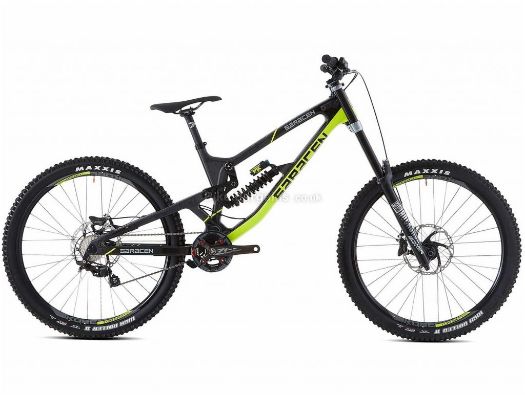 "Saracen Myst Pro 27.5"" Carbon Full Suspension Mountain Bike 2019 L, Yellow, Black, 27.5"", Full Suspension, 10 Speed, Disc, Single Chainring"
