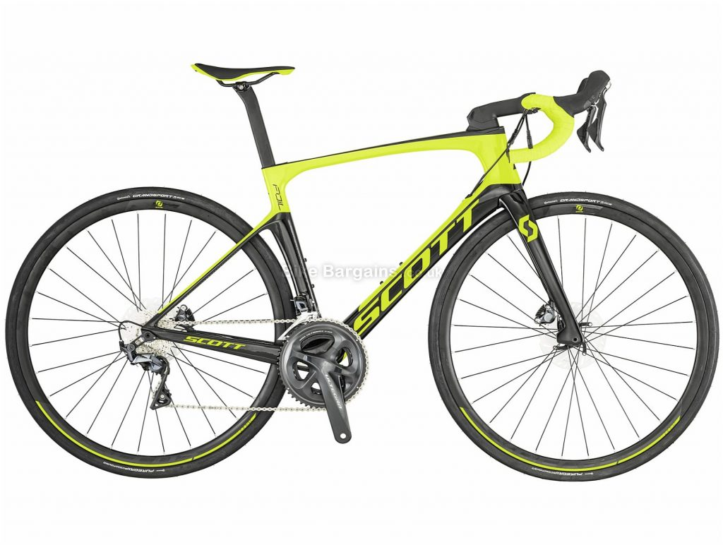 Scott Foil 20 Aero Disc Carbon Road Bike 2019 54cm, Black, Yellow, Carbon, 11 Speed, Disc, Double Chainring, 8.28kg