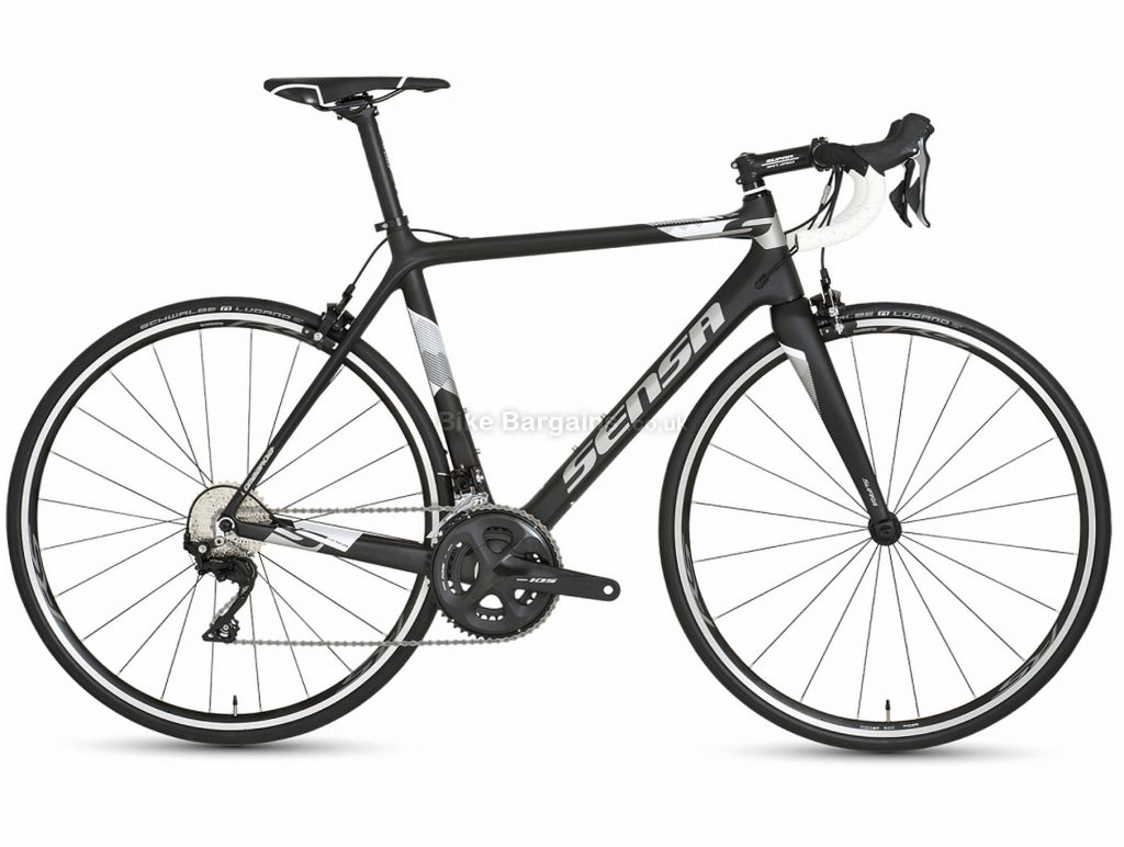 Sensa Lombardia 105 Carbon Road Bike 2020 58cm, Black, White, Grey, 700c, Carbon, 11 Speed, Double Chainring, Caliper Brakes