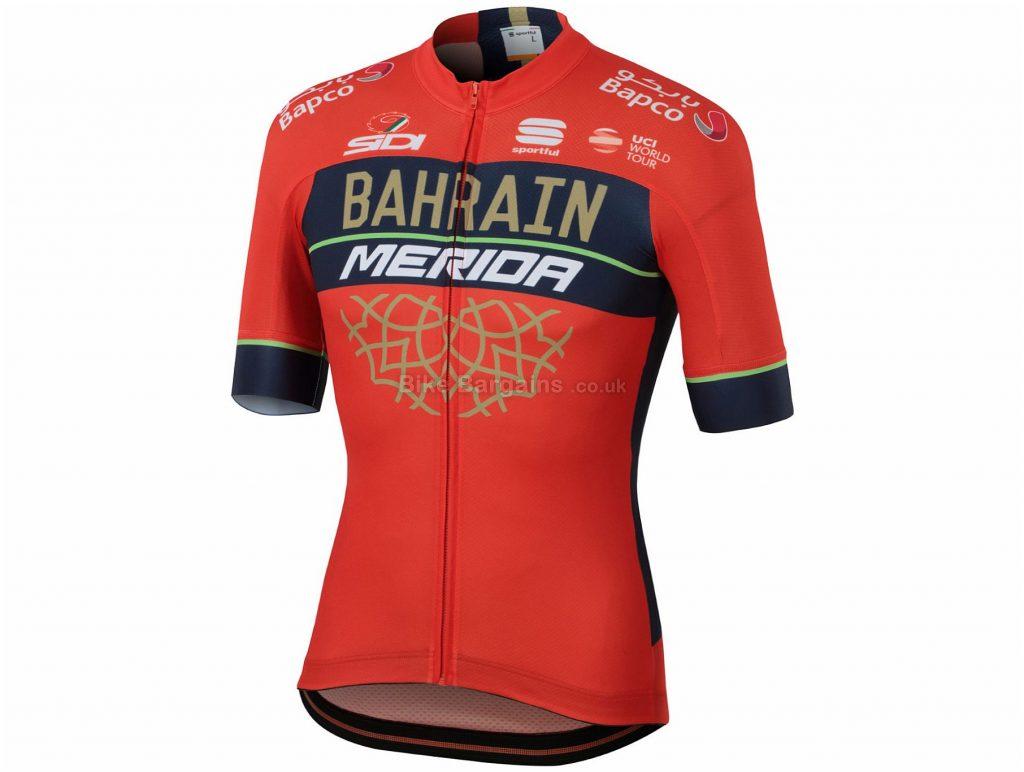Sportful Bahrain Merida Bodyfit Team Short Sleeve Jersey 2018 L, Red, Black