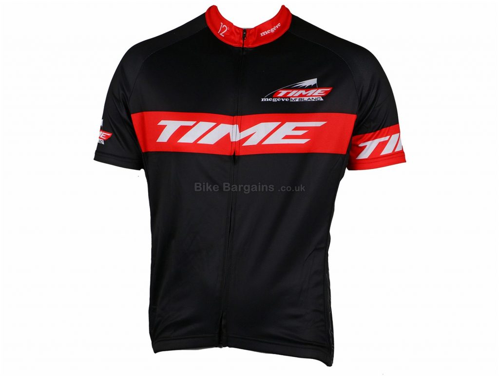 Time Megeve Mont Blanc Short Sleeve Jersey XXL, Black, Red