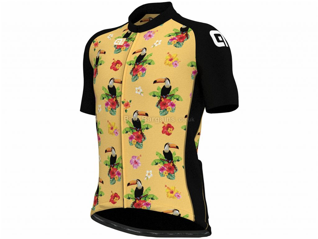 Ale Tropical Toucan Short Sleeve Jersey M, Black, Yellow, Men's, Short Sleeve, Polyester