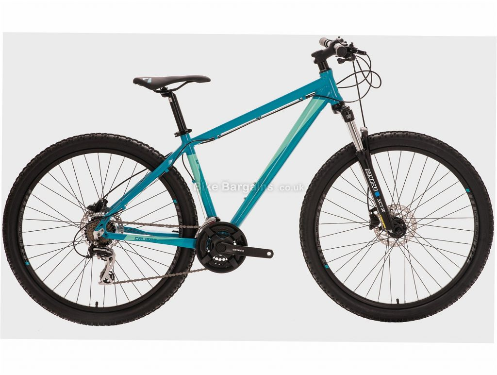"Calibre Blade Alloy Hardtail Mountain Bike XS, Turquoise, Alloy, 27.5"", 7 Speed, Disc, Triple Chainring, 14kg"