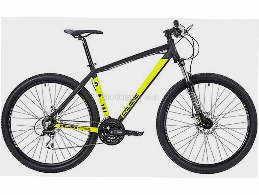 "Calibre Saw Alloy Hardtail Mountain Bike M, Black, Yellow, Alloy, 27.5"", 7 Speed, Disc, Triple Chainring, 14kg"