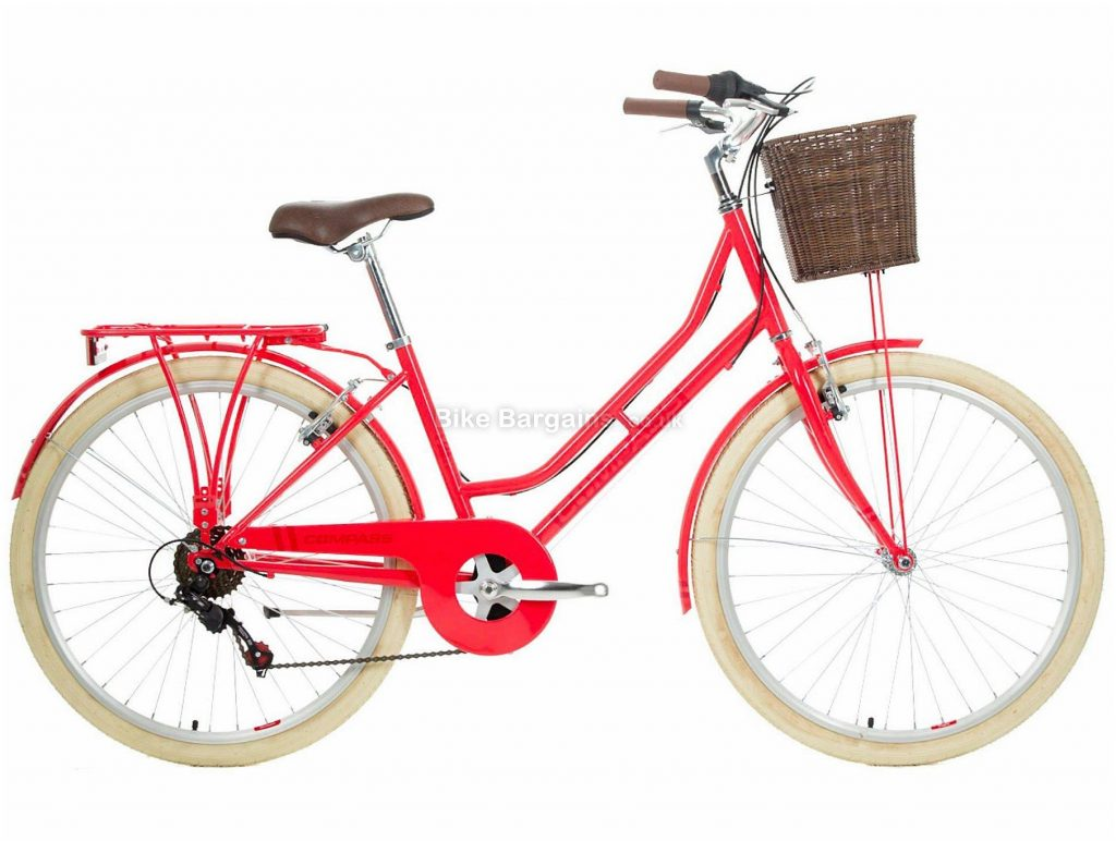 "Compass Classic Ladies Hybrid City Bike 18"", Pink, Steel, 26"", Single Chainring, 6 Speed, Caliper Brakes, 15.5kg"