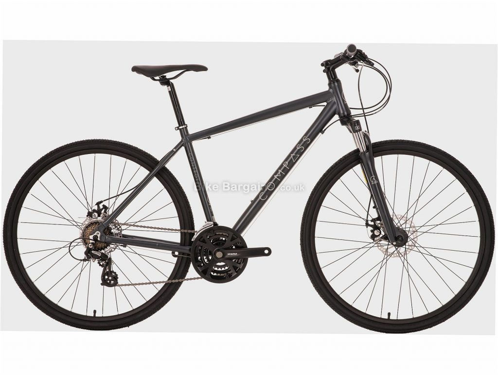 Compass Control Alloy Hybrid City Bike L, Grey, Black, Alloy, 700c, 8 Speed, Hardtail, Disc, Triple Chainring, 14.5kg