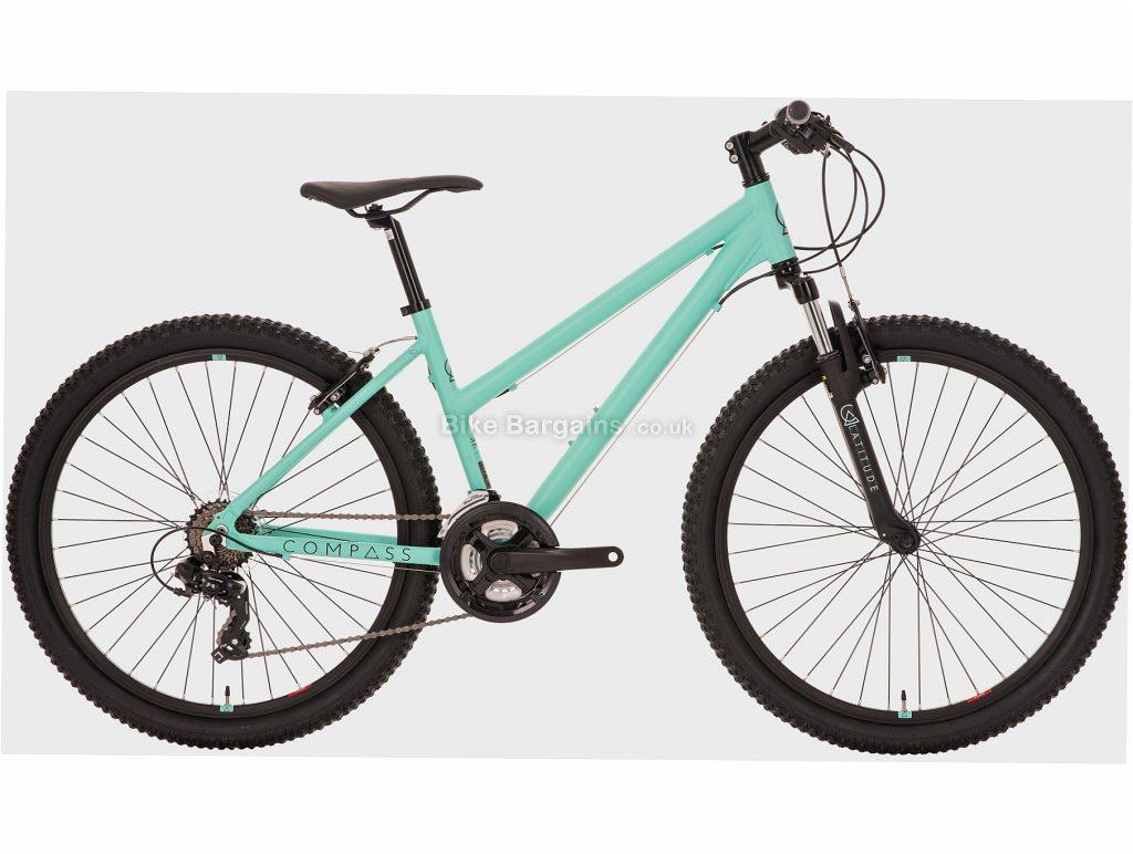 "Compass Ladies Latitude Alloy Hardtail Mountain Bike S, Green, Alloy, 26"", 7 Speed, Caliper Brakes, Triple Chainring"